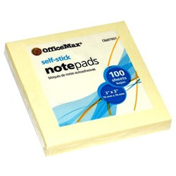 OfficeMax Self-Stick Notes 76x76mm Yellow