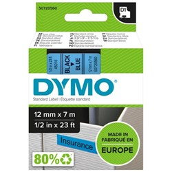 Dymo D1 Labelling Tape 45016 12mm Black on Blue