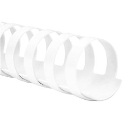 28mm Plastic Binding Coils 20 Ring White, Pack of 50