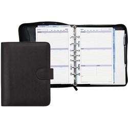 Debden Dayplanner Organiser Snap 7 Ring Desk Sized Black Leather