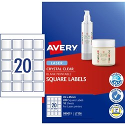 Avery Crystal Clear Square Laser Labels L7126 20 Per Sheet