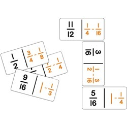 Dominoes Fraction Subtraction, Pack of 28
