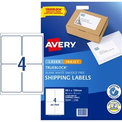 Avery Shipping Laser Labels L7169 White 4 Per Sheet
