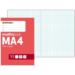 OfficeMax MA4 Maths Exercise Book 7mm Quad With Margin 32 Leaves
