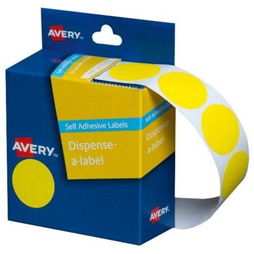 Avery Dot Dispenser Labels DMC24Y 24mm Yellow, Box of 500