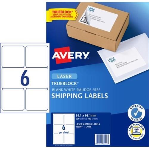 Avery Quick Peel Laser Labels L7166 White 6 Per Sheet