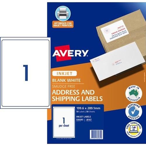 Avery Mailing Inkjet Labels J8167 1 Per Sheet Officemax Nz