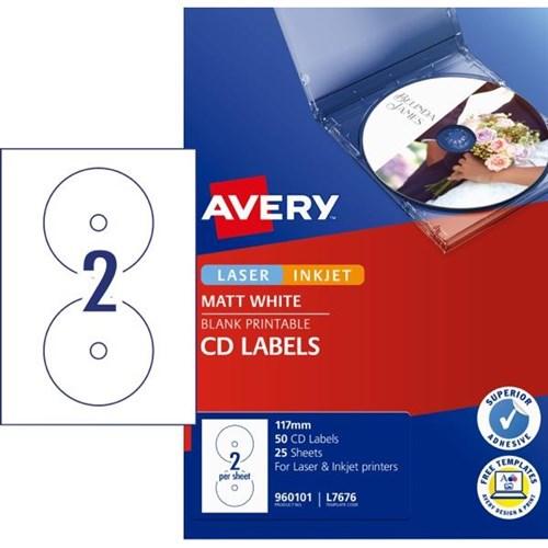 avery cd dvd laser labels l7676 white 2 per sheet officemax nz