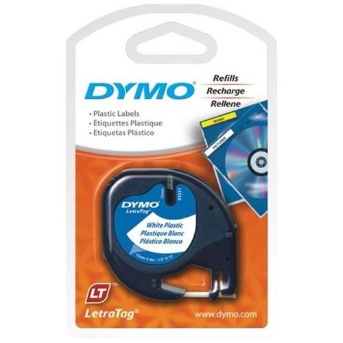 Dymo 91331 LetraTag Plastic Tape 12mm x 4m Pearl White