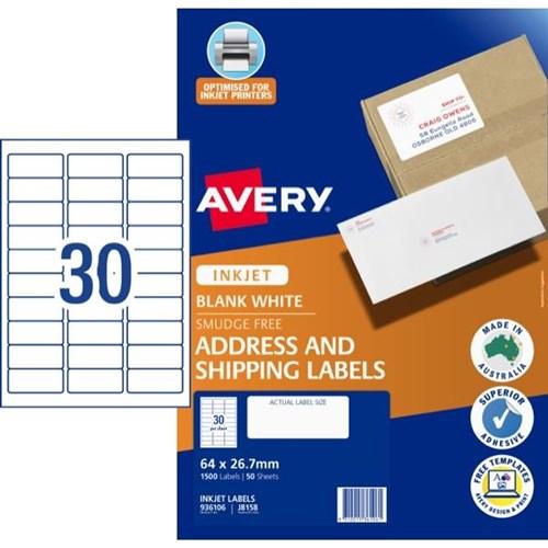 Avery Mailing Inkjet Labels J8158 30 Per Sheet