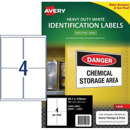 avery heavy duty laser labels l7069 white 4 per sheet officemax nz