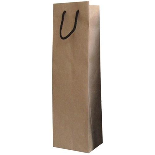 Single Wine Bottle Gift Bag 390mmx90mm Natural