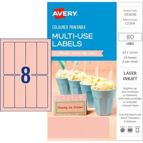 avery a5 laser labels l7264 peach 8 per sheet officemax nz