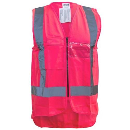 Hi Vis Safety Vest Large Fluoro Pink