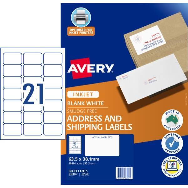 Avery Mailing Inkjet Labels J8160 21 Per Sheet Officemax Nz