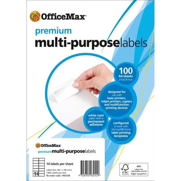 OfficeMax Premium Laser Labels Xmm Per Sheet OfficeMax NZ - Office max label templates