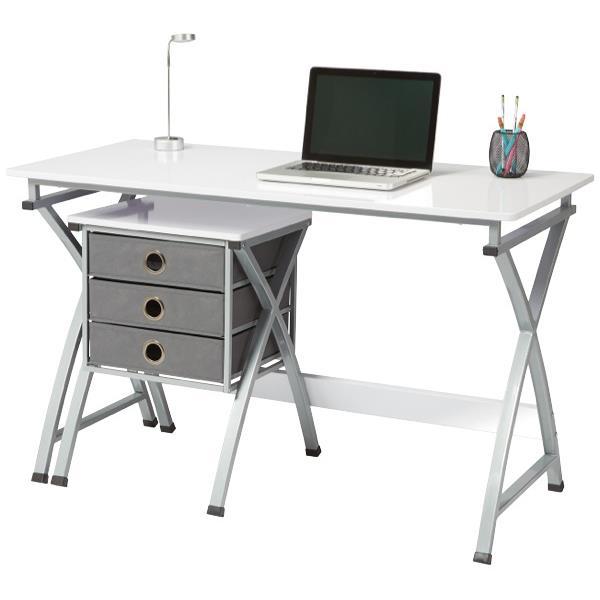 Bon X Cross Computer Desk With 3 Drawer Unit White Silver