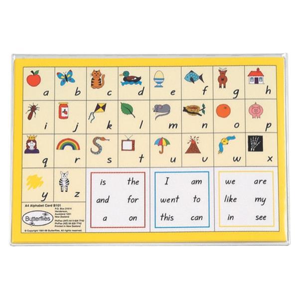 Butterflies Alphabet Cards A4, Pack of 6 | OfficeMax NZ