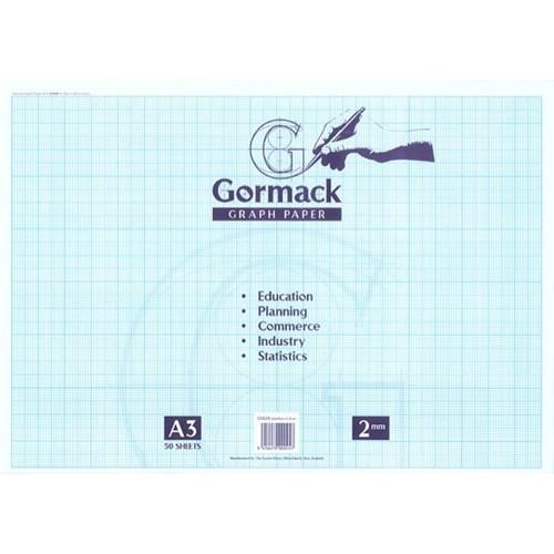 gormack c052x a3 graph pad 2mm grid 50 sheets