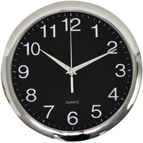 Italplast Glass Face Wall Clock 30cm Black Chrome