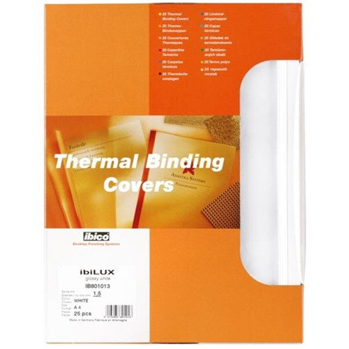GBC Ibico Thermal Binding Covers 1.5mm White, Pack Of 100